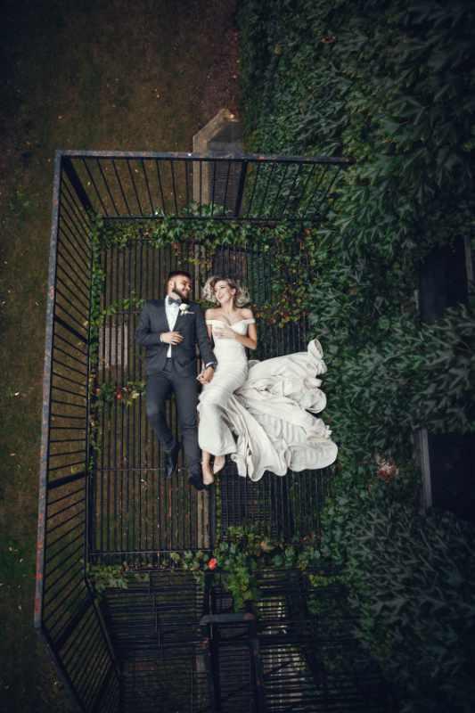 Pareja en sesión de fotos de boda